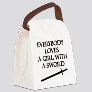 Girl With a Sword Canvas Lunch Bag
