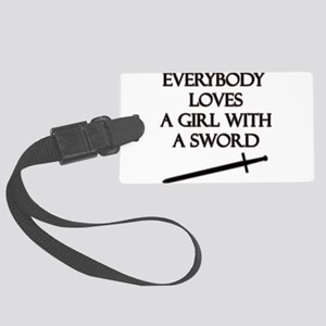 Girl With a Sword Large Luggage Tag