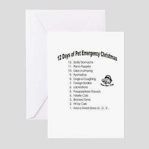 Pet Emergency Christmas Design Greeting Cards