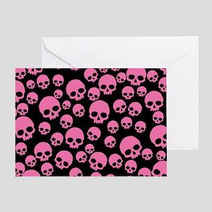 Random Pink Skulls Greeting Card
