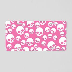Random Pink Skulls Aluminum License Plate