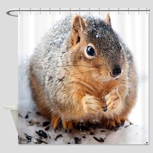 Winter Squirrel Shower Curtain