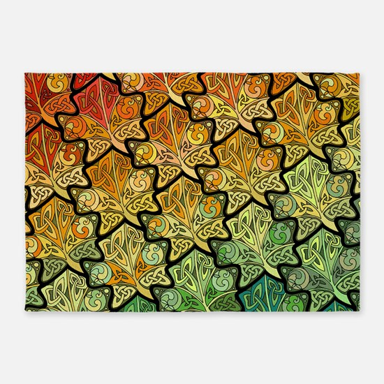 Celtic Leaf Tesselation 5'x7'Area Rug