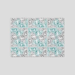 Celtic Puzzle Square 5'x7'Area Rug