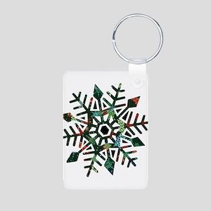 Dark Snowflake Aluminum Photo Keychain