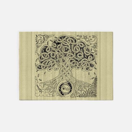 Celtic Tree of Life Ink 5'x7'Area Rug
