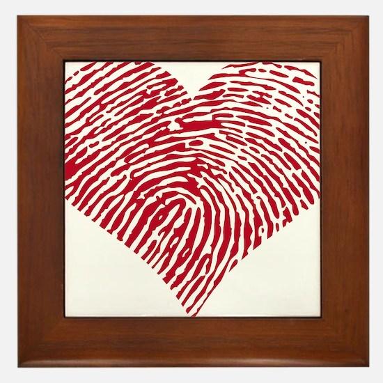 Red heart with fingerprint pattern Framed Tile