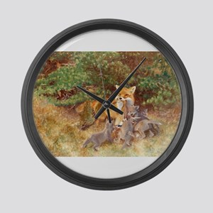 Painting of Momma Fox and Kits Large Wall Clock