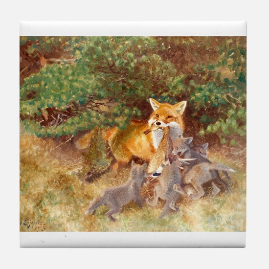 Painting of Momma Fox and Kits Tile Coaster