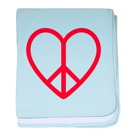 Love and peace, red heart with peace sign baby bla