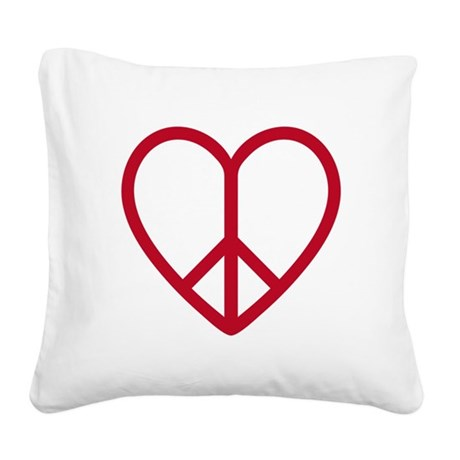 Love and peace, red heart with peace sign Square C