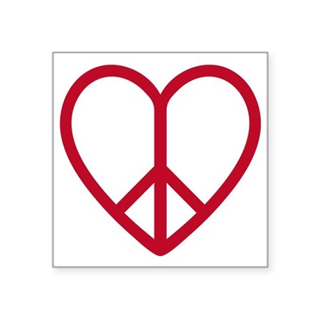 Love and peace, red heart with peace sign Square S
