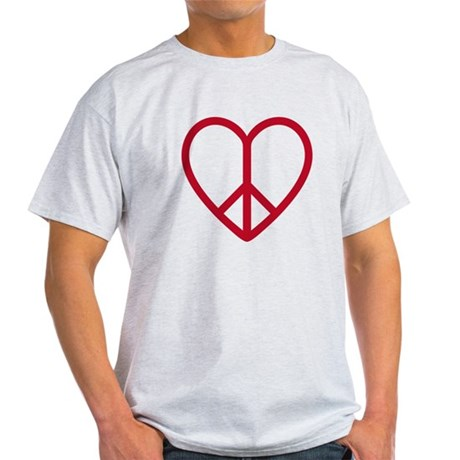 Love and peace, red heart with peace sign Light T-
