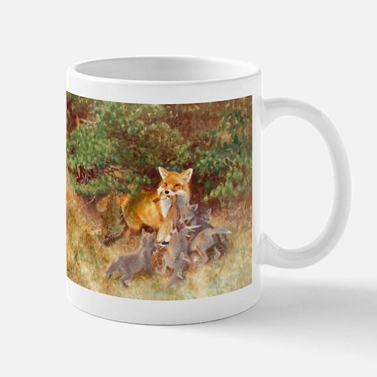 Painting of Momma Fox and Kits Mug
