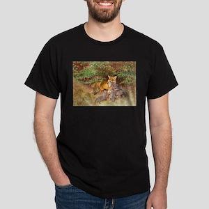 Painting of Momma Fox and Kits Dark T-Shirt