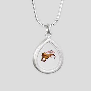 Bearded Dragon III Silver Teardrop Necklace