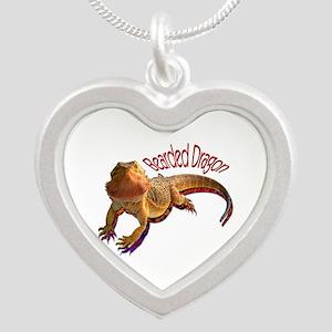 Bearded Dragon III Silver Heart Necklace