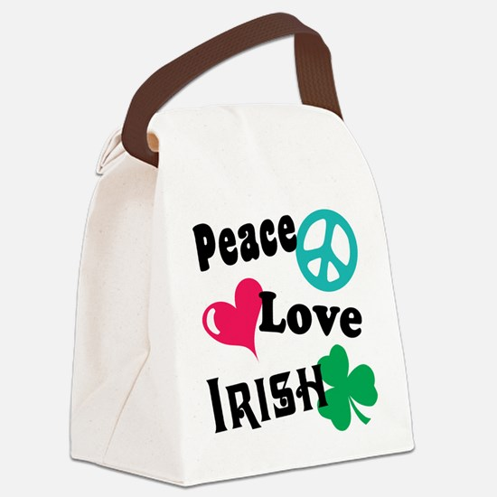 Peace Love Irish Canvas Lunch Bag