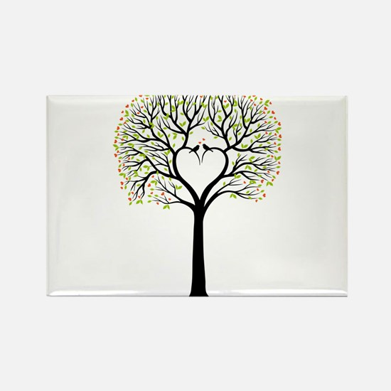 Love tree with heart branches, birds and hearts Re