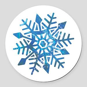 Serene Snowflake Round Car Magnet