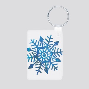 Serene Snowflake Aluminum Photo Keychain