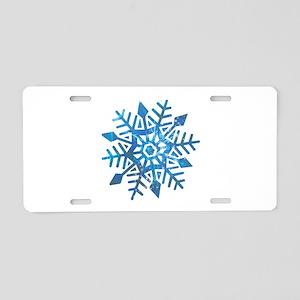 Serene Snowflake Aluminum License Plate