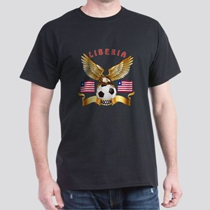 Liberia Football Design Dark T-Shirt