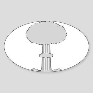 Atomic Bomb Mushroom Cloud Sticker (Oval)
