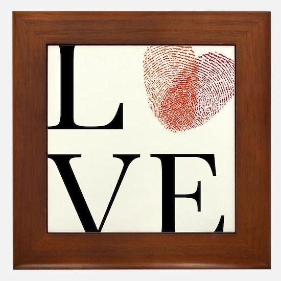 Love with red fingerprint heart Framed Tile
