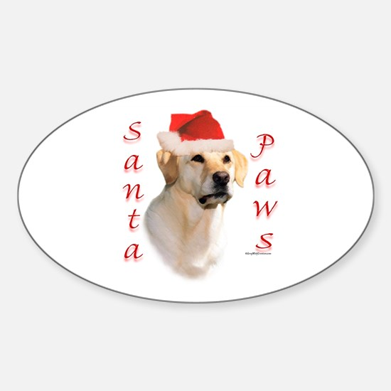 Santa Paws Yellow Lab Oval Decal