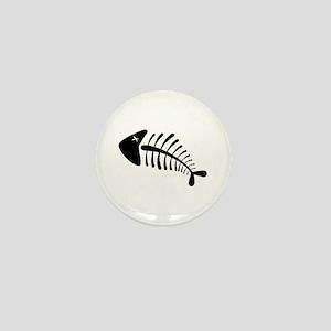Fish Skeleton Bones Mini Button