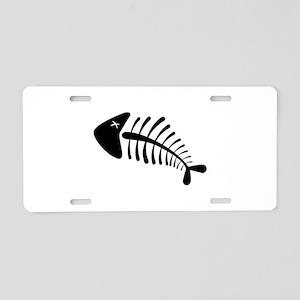 Fish Skeleton Bones Aluminum License Plate