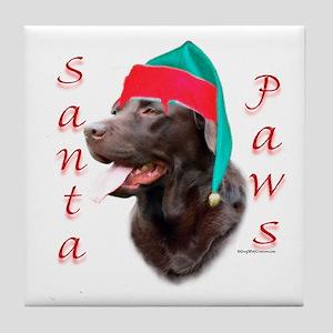 Santa Paws Chocolate Lab Tile Coaster
