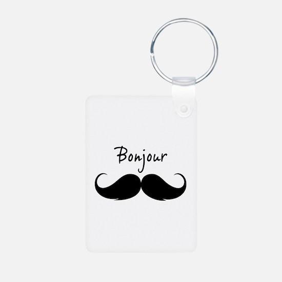Bonjour moustache Aluminum Photo Keychain