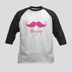 Bonjour moustache Kids Baseball Jersey