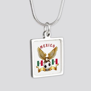 Mexico Football Design Silver Square Necklace