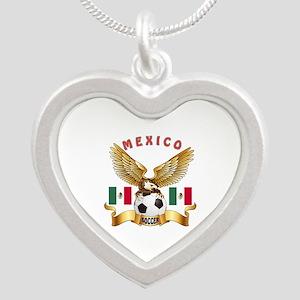 Mexico Football Design Silver Heart Necklace