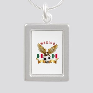 Mexico Football Design Silver Portrait Necklace
