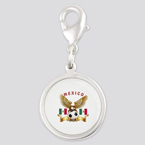 Mexico Football Design Silver Round Charm