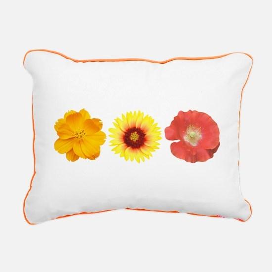 Three Flowers - Warm Colors Rectangular Canvas Pil