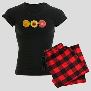 Three Flowers - Warm Colors Women's Dark Pajamas
