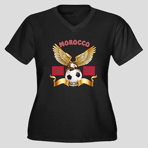 Morocco Football Design Women's Plus Size V-Neck D