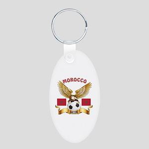 Morocco Football Design Aluminum Oval Keychain