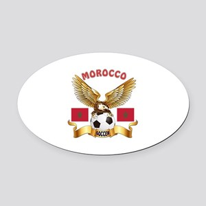 Morocco Football Design Oval Car Magnet