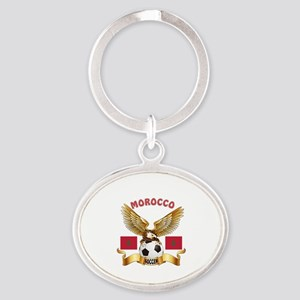 Morocco Football Design Oval Keychain