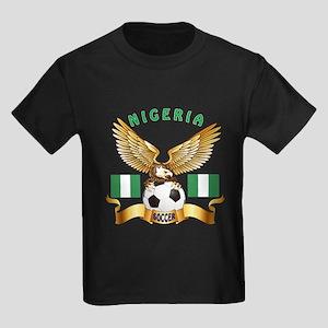Nigeria Football Design Kids Dark T-Shirt