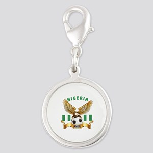 Nigeria Football Design Silver Round Charm