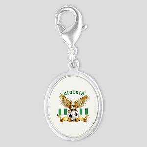 Nigeria Football Design Silver Oval Charm