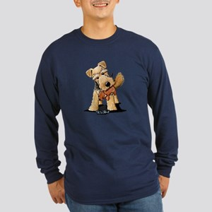 Welsh Terrier With Squirrel Long Sleeve Dark T-Shi