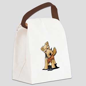 Welsh Terrier With Squirrel Canvas Lunch Bag